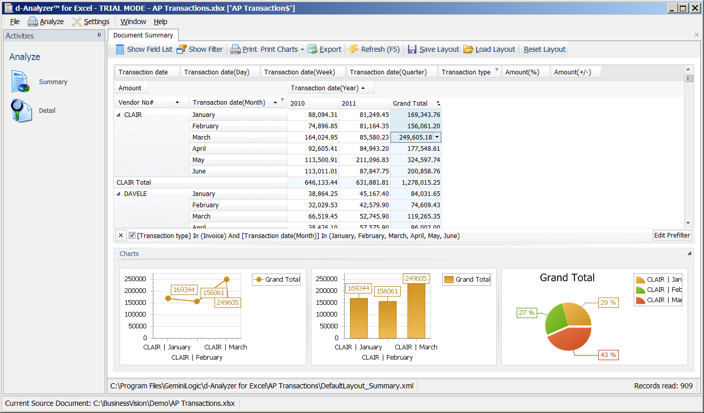 gemini logic d analyzer for excel is a report writer and
